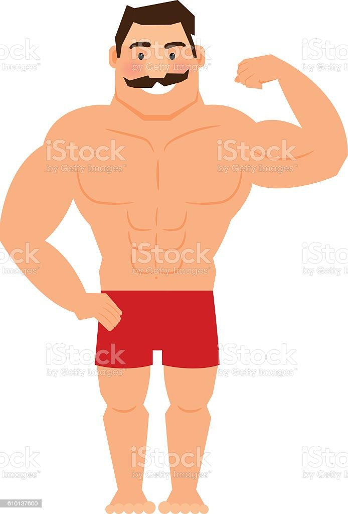 Beautiful cartoon muscular man with mustache vector art illustration