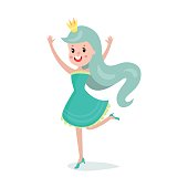 Beautiful cartoon princess girl character with turquoise hair wearing short dress and crown colorful vector Illustration