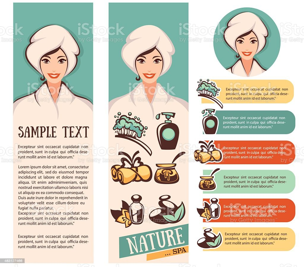 beautiful cartoon woman and natural spa icons, emblems and backgrounds collection vector art illustration