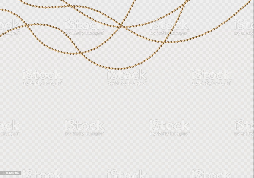 A beautiful chain of Golden color.String beads are realistic insulated. Decorative element of gold bead design.vector illustration vector art illustration