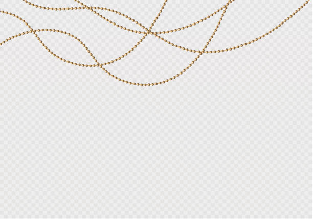 a beautiful chain of golden color.string beads are realistic insulated. decorative element of gold bead design.vector illustration - bead stock illustrations, clip art, cartoons, & icons