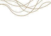 A beautiful chain of Golden color.String beads are realistic insulated. Decorative element of gold bead design.vector illustration