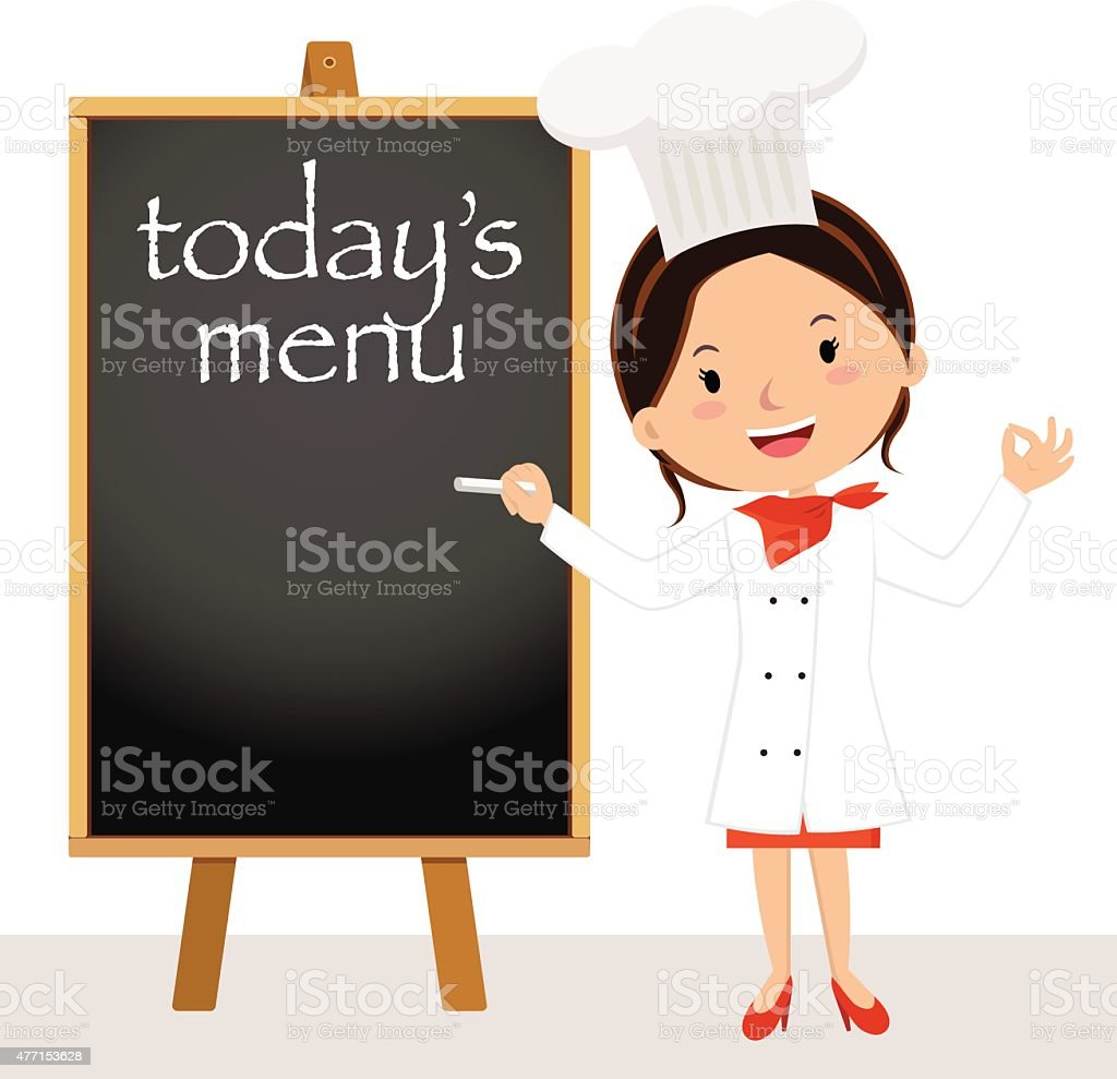 Beautiful chef woman with menu board vector art illustration