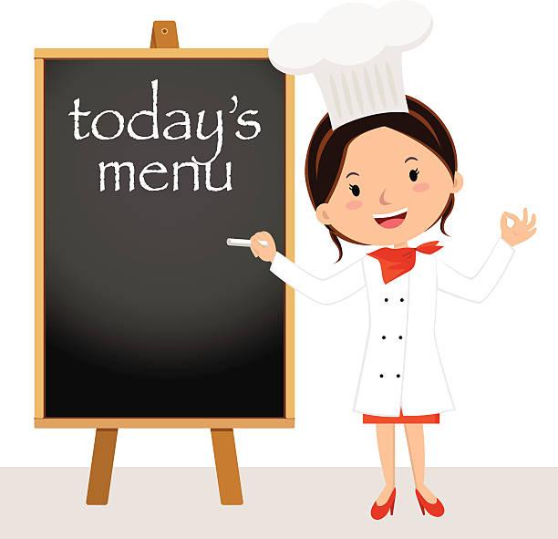 wunderschöne chefkoch frau mit menü-tafel - hauswirtschaft stock-grafiken, -clipart, -cartoons und -symbole