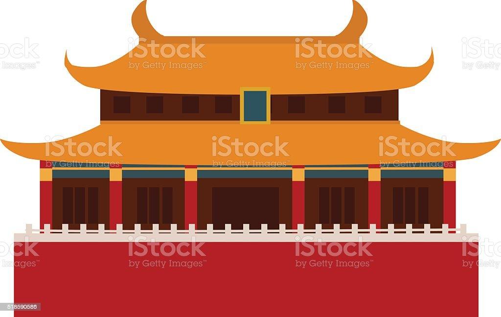 Beautiful china travel landmarks chinese temple vector vector art illustration
