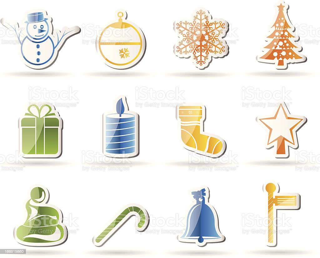 Beautiful Christmas And Winter Icons royalty-free stock vector art