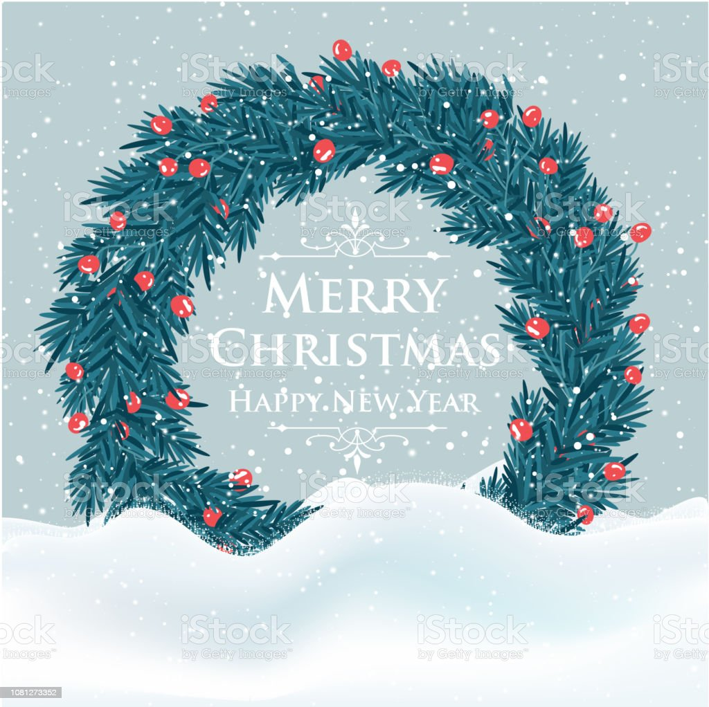 Beautiful Christmas Card With Tree Wreath And Greetings