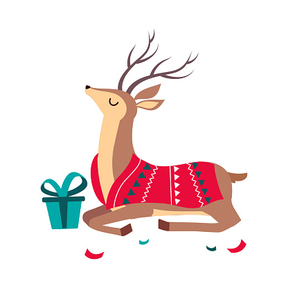 Beautiful Christmas Deer with Gift Box, Merry Xmas and New Year, Happy Winter Holidays Concept Cartoon Style Vector Illustration