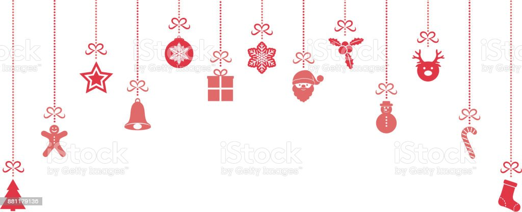 beautiful christmas elements banner with hanging decorations vector royalty free beautiful christmas - Christmas Hanging Decorations