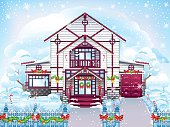 Winter. Beautiful Christmas house with pink roof, blue fence and Christmas decoration.