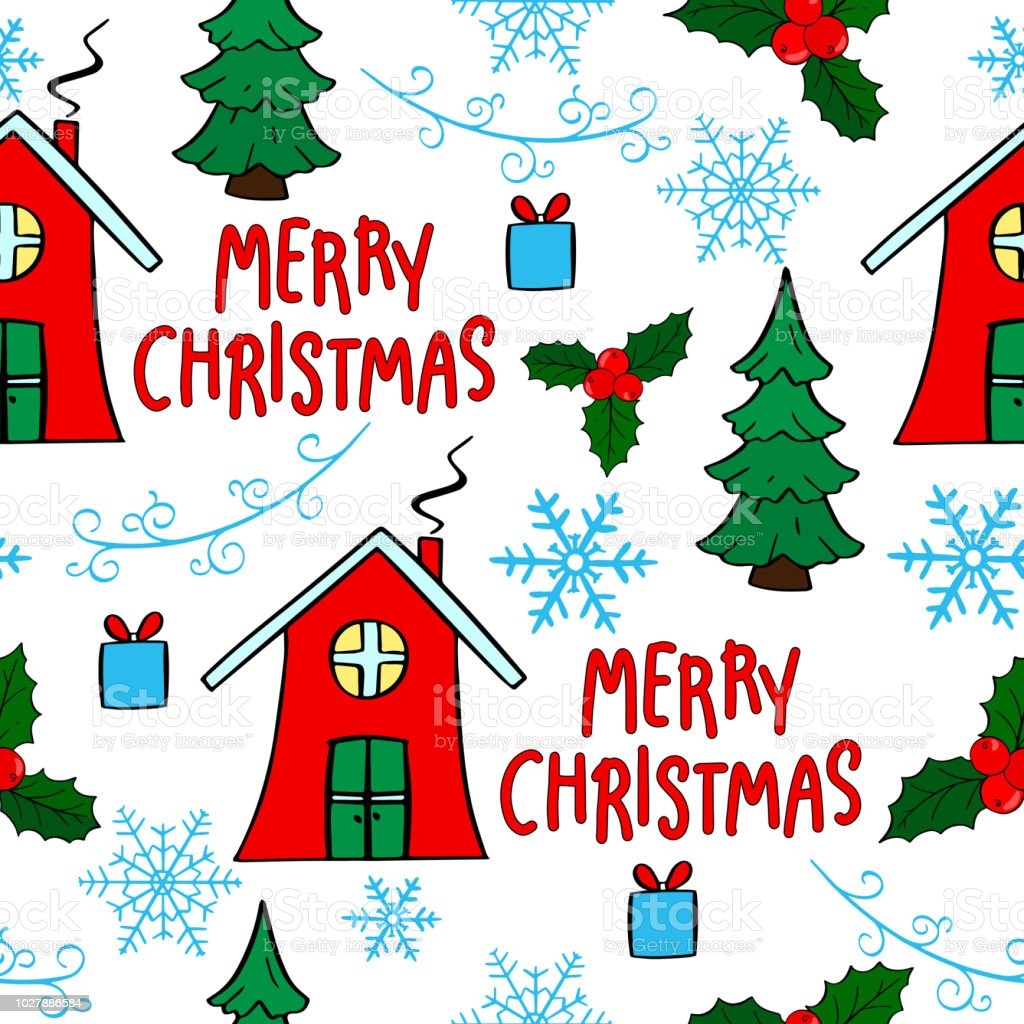 Beautiful Christmas Seamless Pattern Hand Drawn Celebration Background With Text House Tree