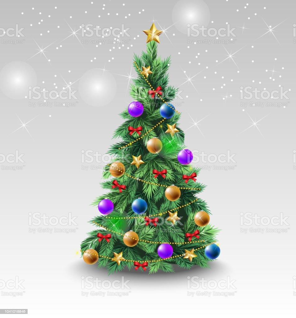 Beautiful Christmas tree with colorful balls vector art illustration