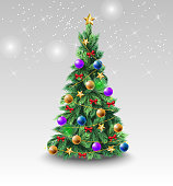 Beautiful Christmas tree with colorful balls. Decoration, bauble, evergreen conifer. New Year concept. Can be used for greeting cards, posters, leaflets and brochure