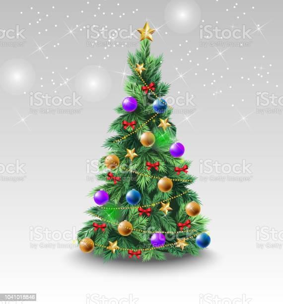 Schöne Weihnachtsbaum Mit Bunten Kugeln Stock Vektor Art und mehr Bilder von Ast - Pflanzenbestandteil