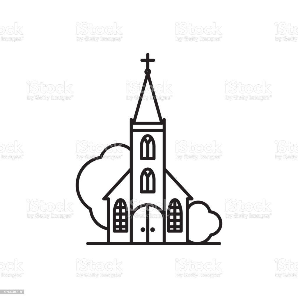 Dessin au trait superbe logo glise vecteurs libres de droits et plus d 39 images de architecture - Dessin eglise ...