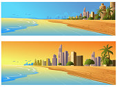 Self illustrated Beautiful City Background/Banners. All elements are in separate layers and grouped individually. Very easy to edit. please visit my portfolio for more options.