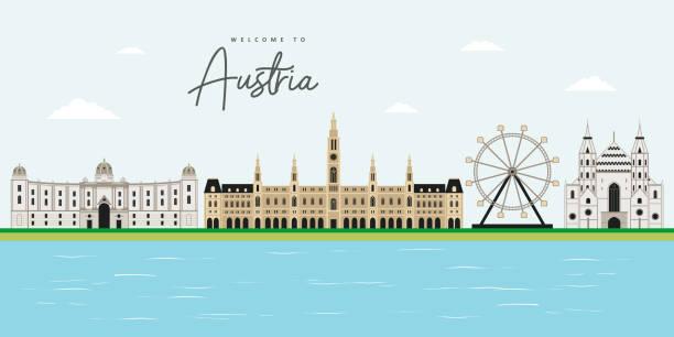 красивый вид на пейзаж австрии с знаковой коллекцией путешествий в вене, австрия. туристическое направление должно посетить. хофбург, собо� - unesco stock illustrations