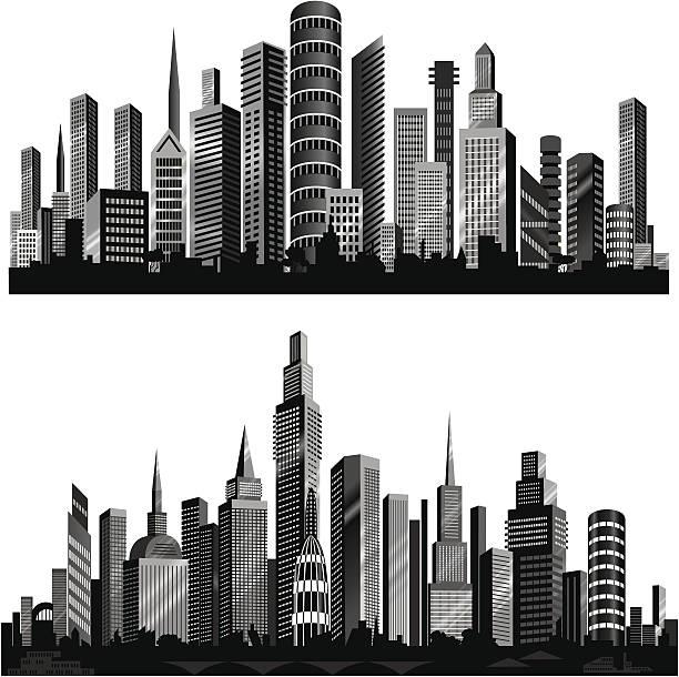 bildbanksillustrationer, clip art samt tecknat material och ikoner med beautiful city silhouettes. - abstract silhouette art