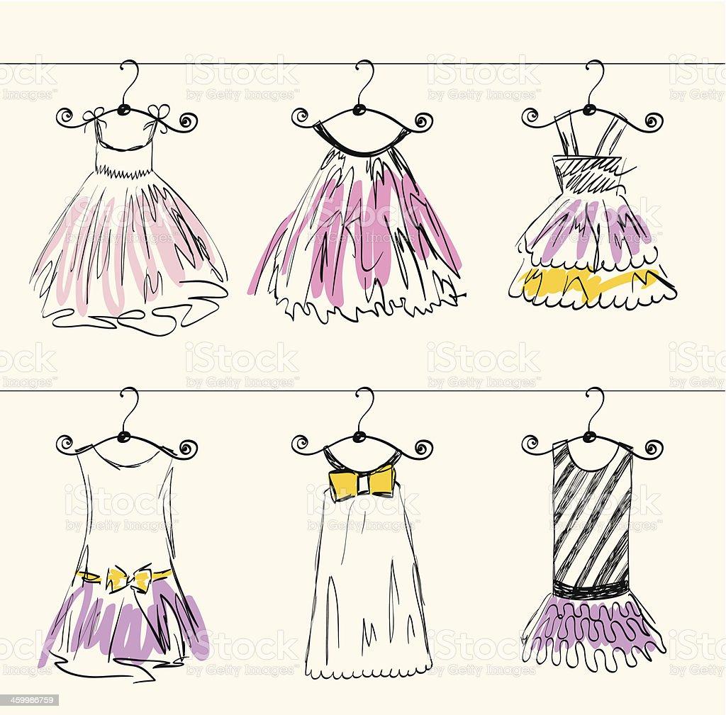 beautiful clothes vector art illustration