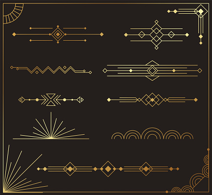 Beautiful collection of modern art deco dividers vector
