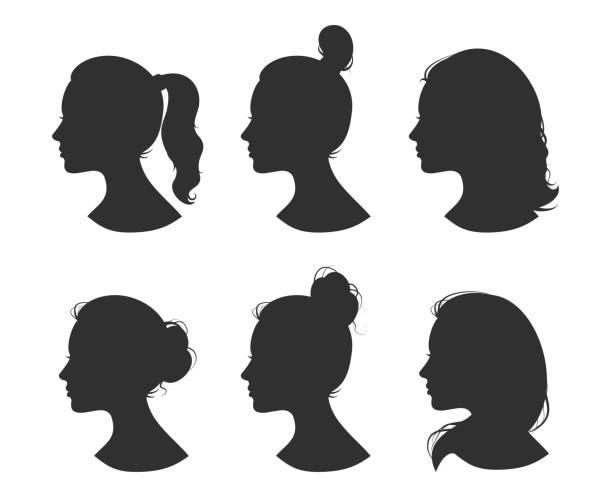 schöne sammlung von profil frau heand mit verschiedenen frisuren vektor - weiblicher teenager stock-grafiken, -clipart, -cartoons und -symbole