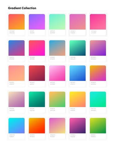 Beautiful color gradient collection. Gradients template for your design. Trendy modern soft gradients for mobile and web design