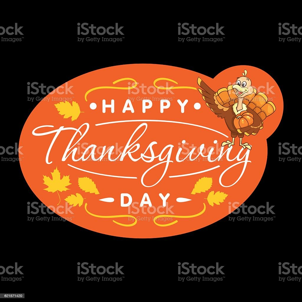 Beautiful, colorful cartoon of turkey bird for Happy Thanksgiving  celebration royalty-free stock vector