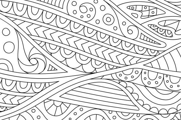 아름 다운 추상적인 패턴도 서 페이지를 색칠 - 색칠하기 stock illustrations