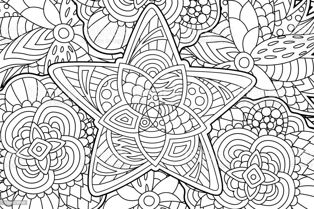 Beautiful abstract coloring book page with decorative star