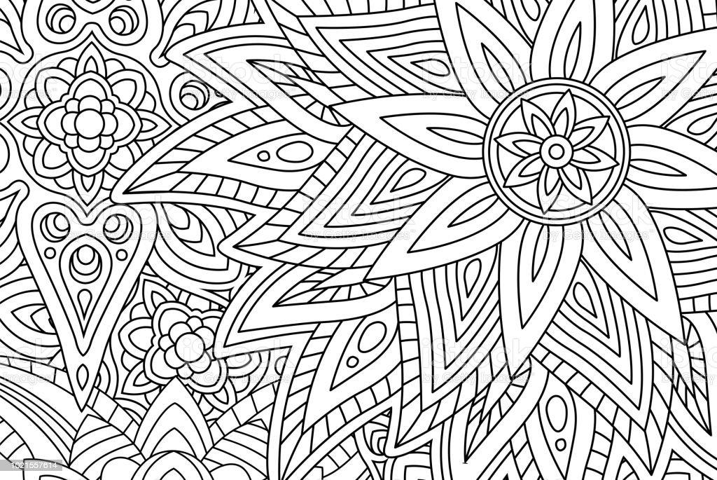 Ilustración de Hermosa Página De Libro Con Flores Para Colorear y ...