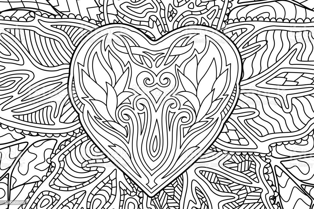 Beautiful rectangle coloring book page with heart shape