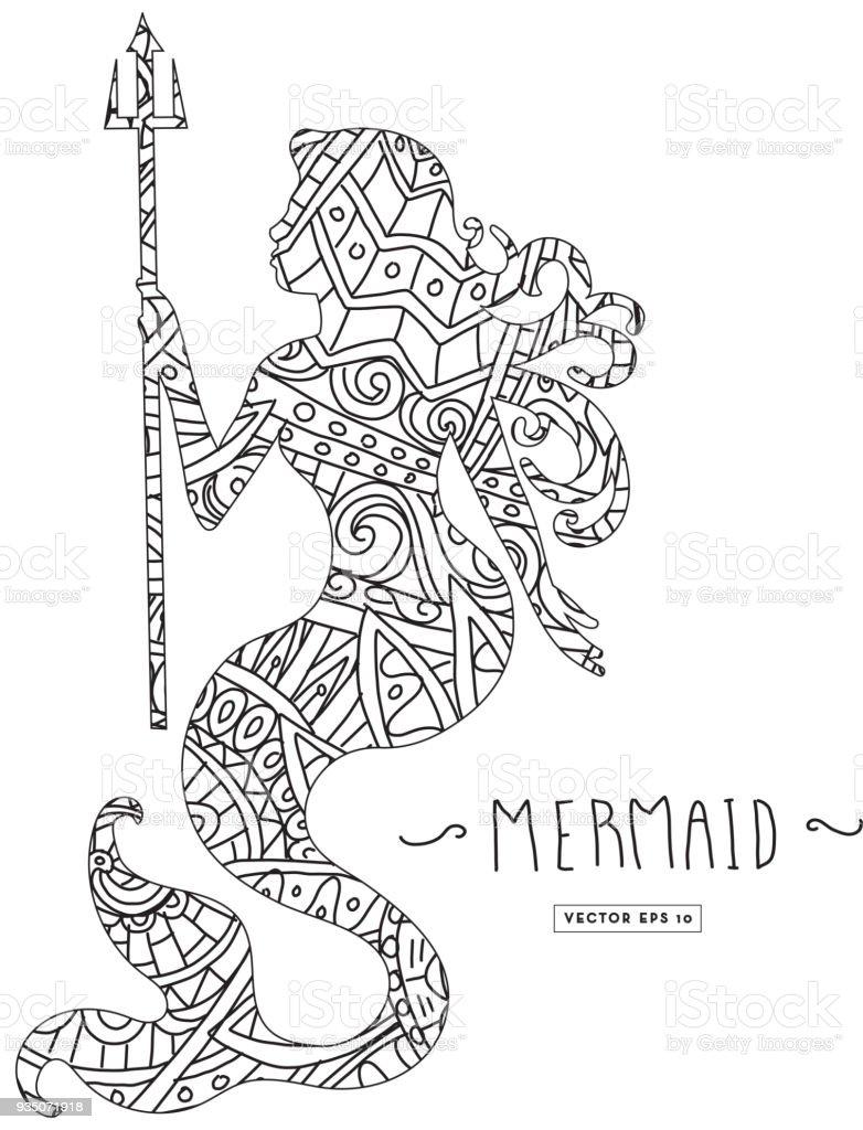 Güzel Kitap Dolaştırmak Doodle Deniz Kızı Siluet Boyama Stok Vektör