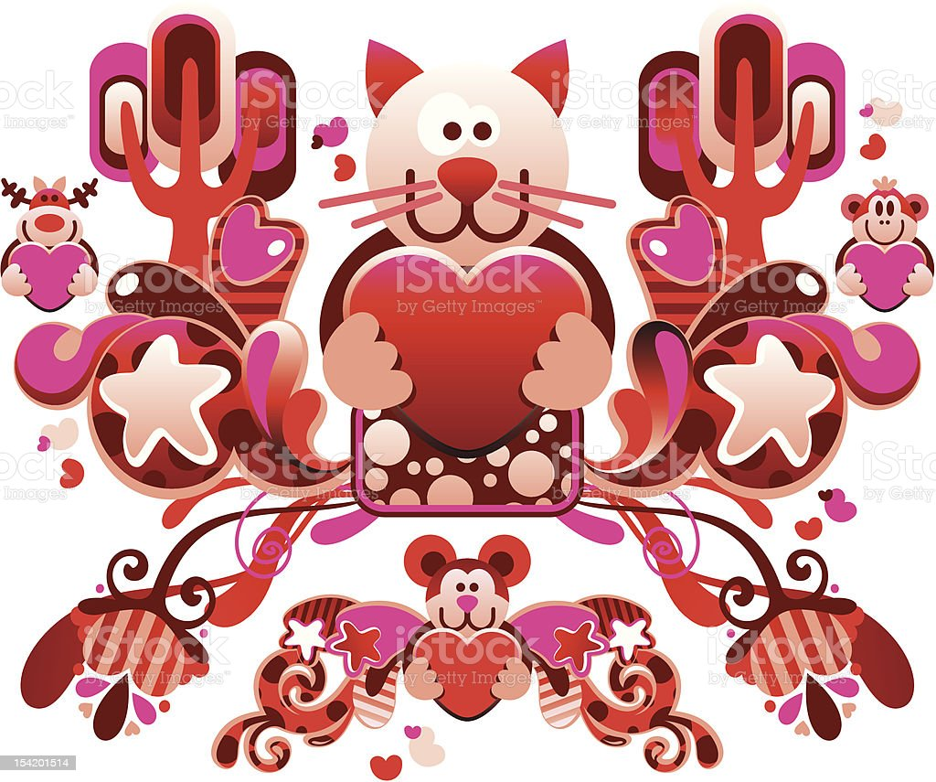 beautiful composition Valentine's Day with a cat royalty-free beautiful composition valentines day with a cat stock vector art & more images of animal
