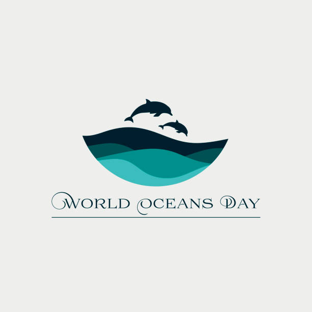 beautiful concept card for the world oceans day with waves and dolphins. - dolphin stock illustrations