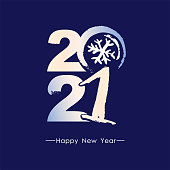 Beautiful concise card with frozen 2021. Handwritten 2021 logo. Happy New Year. Design template card, cover, calendar, brochure, poster, banner.