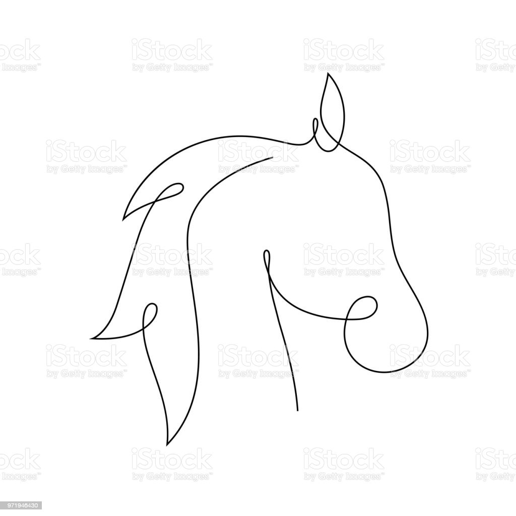 Beautiful Continuous Line Horse Art Design Vector Stock Illustration Download Image Now Istock