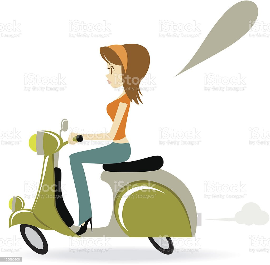 Beautiful Cool Girl Riding A Motorcycle royalty-free stock vector art