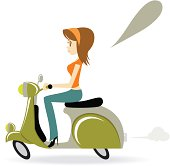 Vector illustration - Beautiful Cool Girl Riding A Motorcycle.