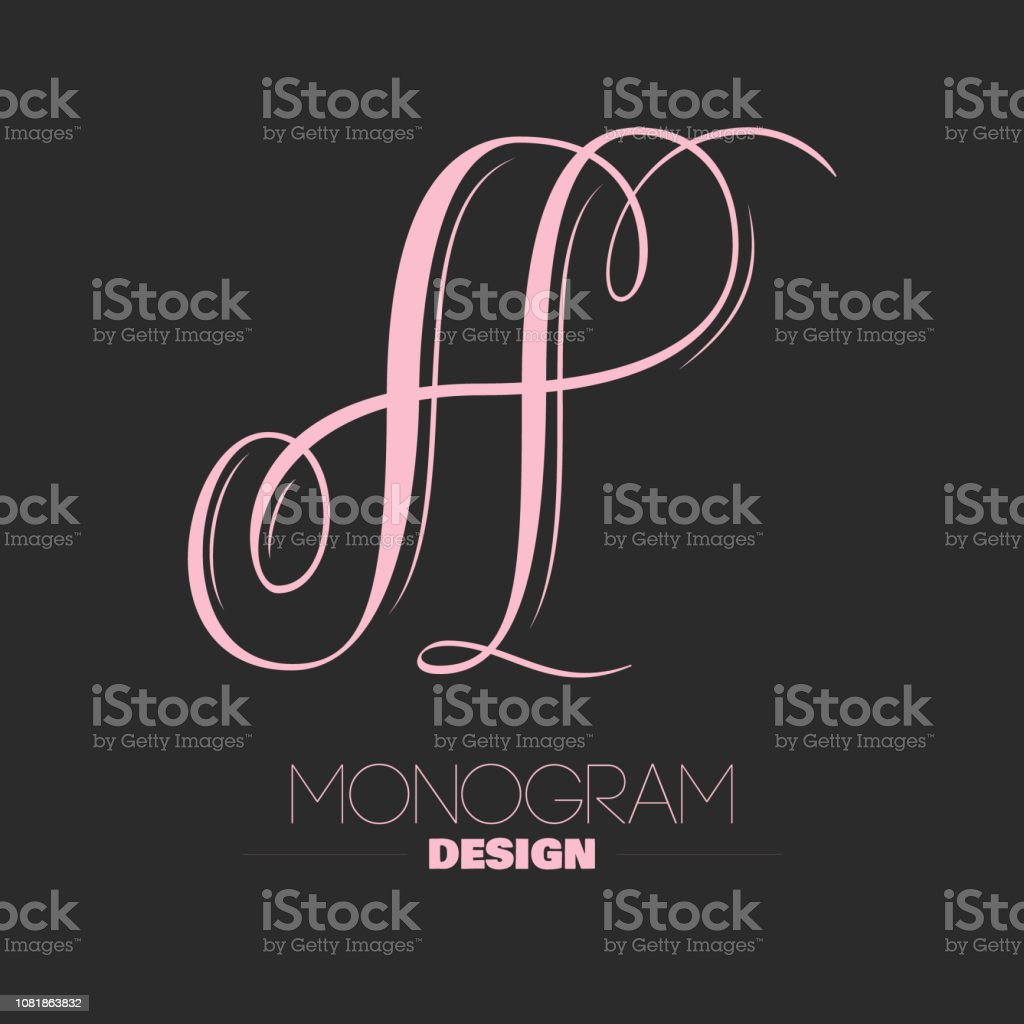 Beautiful copperplate letter A calligraphy monogram design vector art illustration