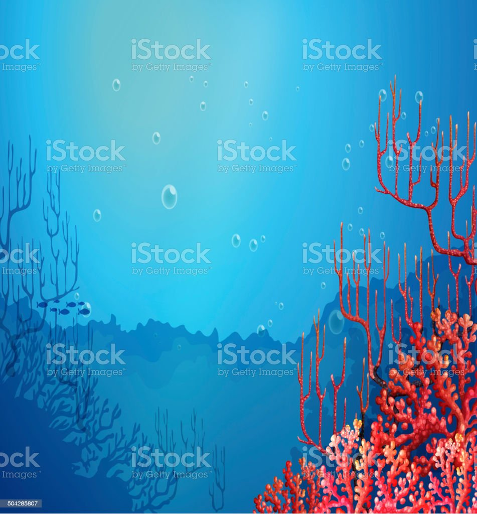 Beautiful corals under the sea vector art illustration