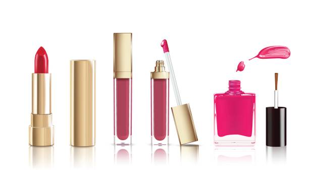 Beautiful cosmetic set in gold. lipstick, lip gloss and nail polish with smear. Makeup realistic cosmetic vector isolated on white. Beautiful cosmetic set in gold. lipstick, lip gloss and nail polish with smear. Makeup realistic cosmetic vector isolated on white white nail polish stock illustrations
