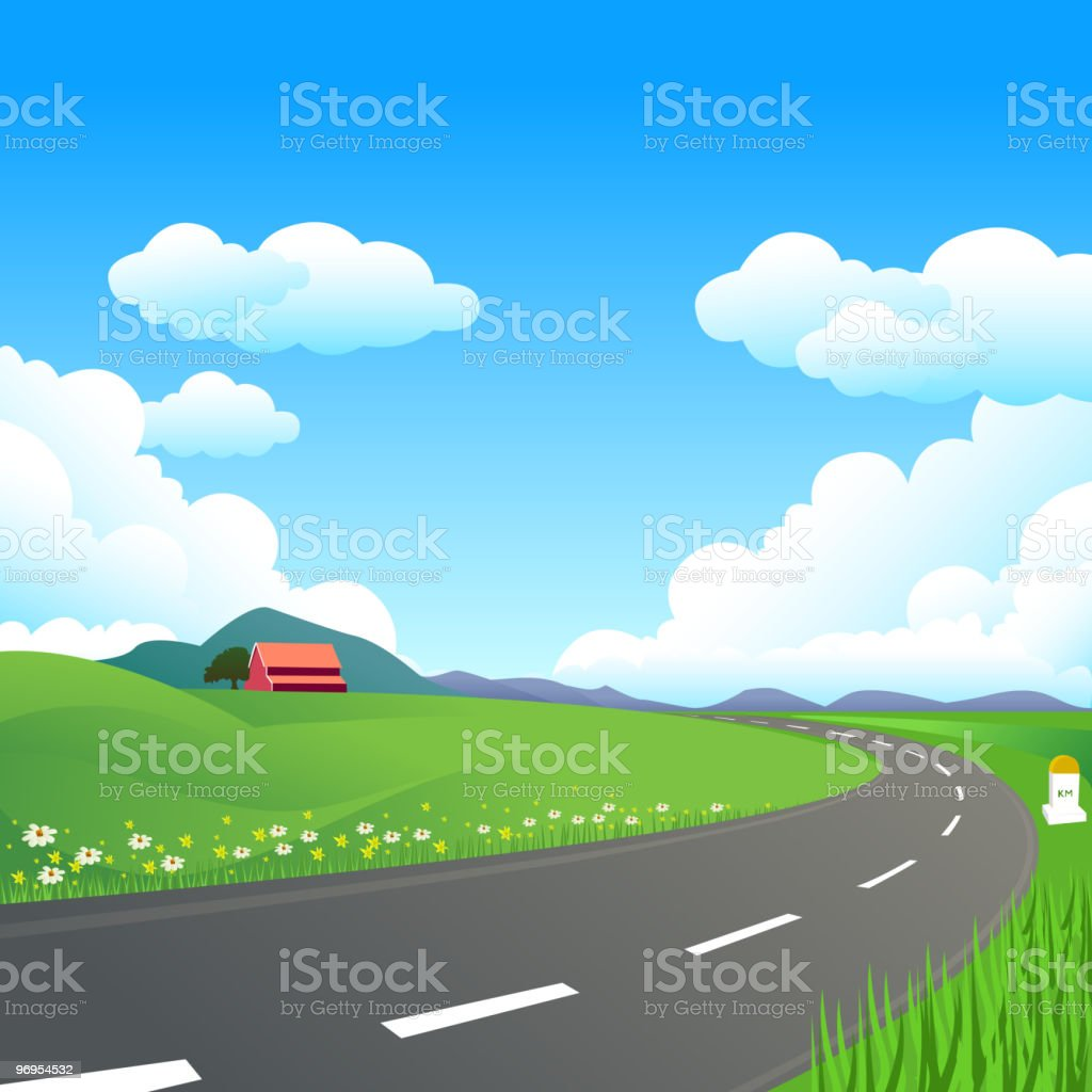 Beautiful Countryside Highway royalty-free stock vector art
