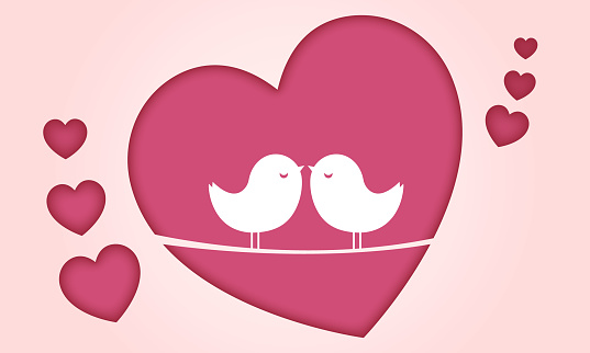 beautiful couple birds on pink hearts background