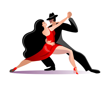 Beautiful couple dancing tango. A woman in a red dress and a man in a black suit and hat.