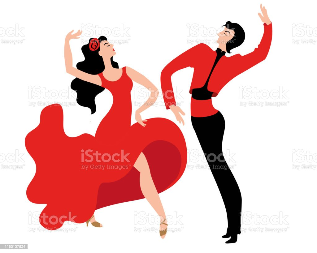 Beautiful Couple Dancing The Spanish Dance Paso Doble Stock Illustration Download Image Now Istock