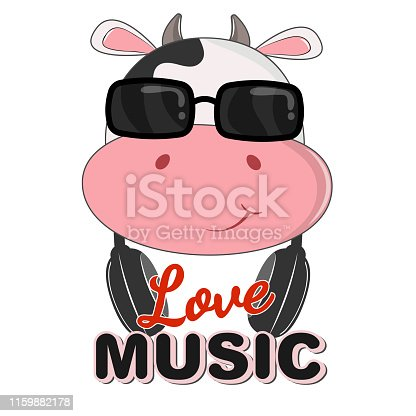 Beautiful cow in sunglasses love music. Greeting card. Vector illustration.