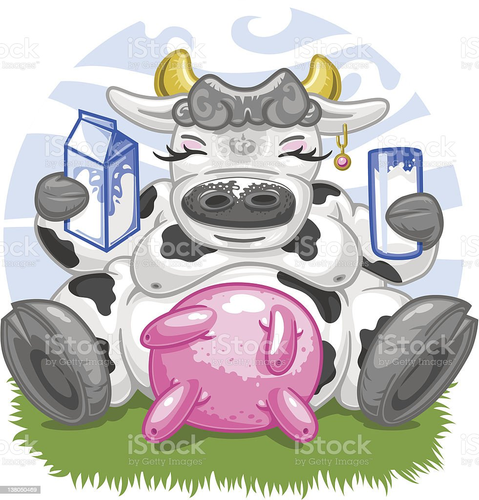 Beautiful cow with huge udder loves milk (vector) vector art illustration