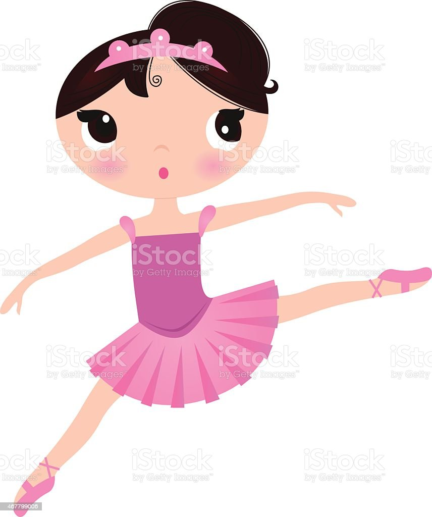 Beautiful cute ballerina in nice dress isolated on white vector art illustration