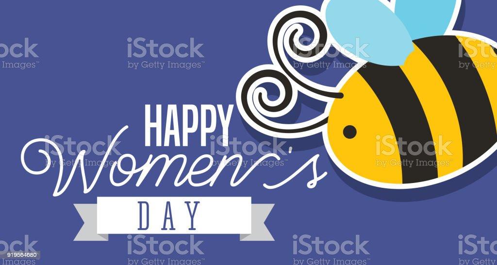 beautiful cute bee happy womens day card vector art illustration