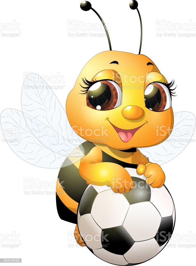 Schöne süße Biene - Lizenzfrei Biene Vektorgrafik